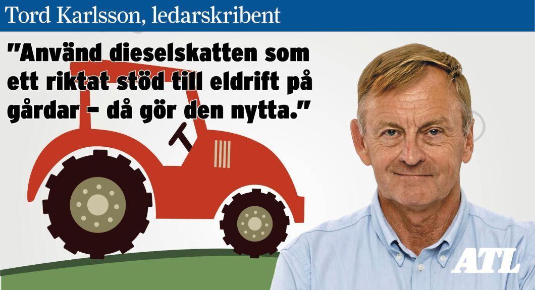 """""""Använd dieselskatten som ett riktat stöd till eldrift på gårdar – då gör den nytta"""", skriver Tord Karlsson."""