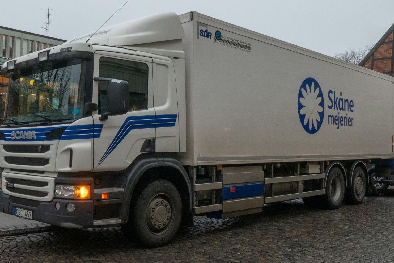 Lastbil, Skånemejerier. Arkivbild.