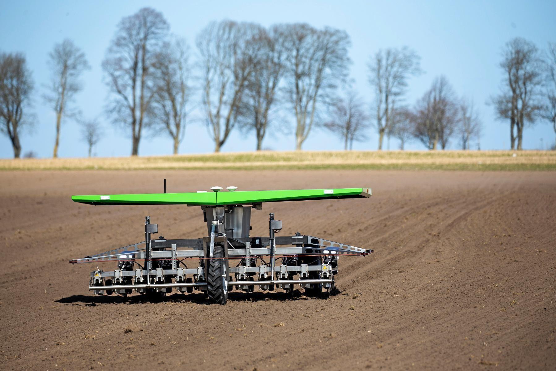 Tyst. Förarlös, luktlös och näst intill ljudlöst rör sig roboten över en yta på ungefär fyra hektar per dygn och ska klara att sköta sådd och ogräsbekämpningen på 20 hektar.