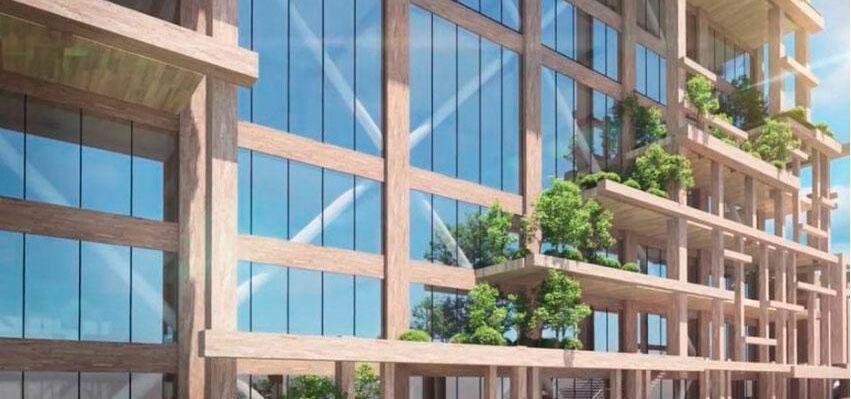 Växter ska klättra längs byggnaden, som en påminnelse om naturens närvaro.