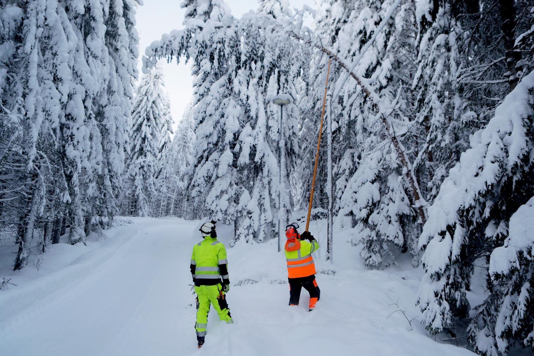 Montörer på Vattenfall på väg för att rensa ledningsgator på träd, grenar och snö efter ovädret i Västernorrland.