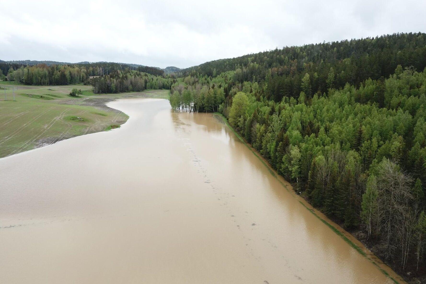 Ett översvämmat dike vid arrendena vid Långviks gård mellan Hammar och Åmmeberg, Foto från 27 maj.