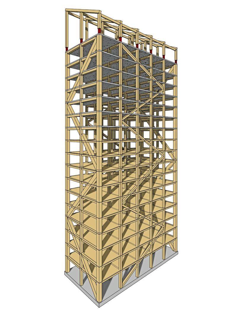 Mjöstornet kommer bestå av limträ i pelare, bjälkar och diagonaler samt massivt trä i hiss- och trappschakt. De nedersta tio våningarna får dessutom stabiliseringselement i en kombination av limträ och kerto.