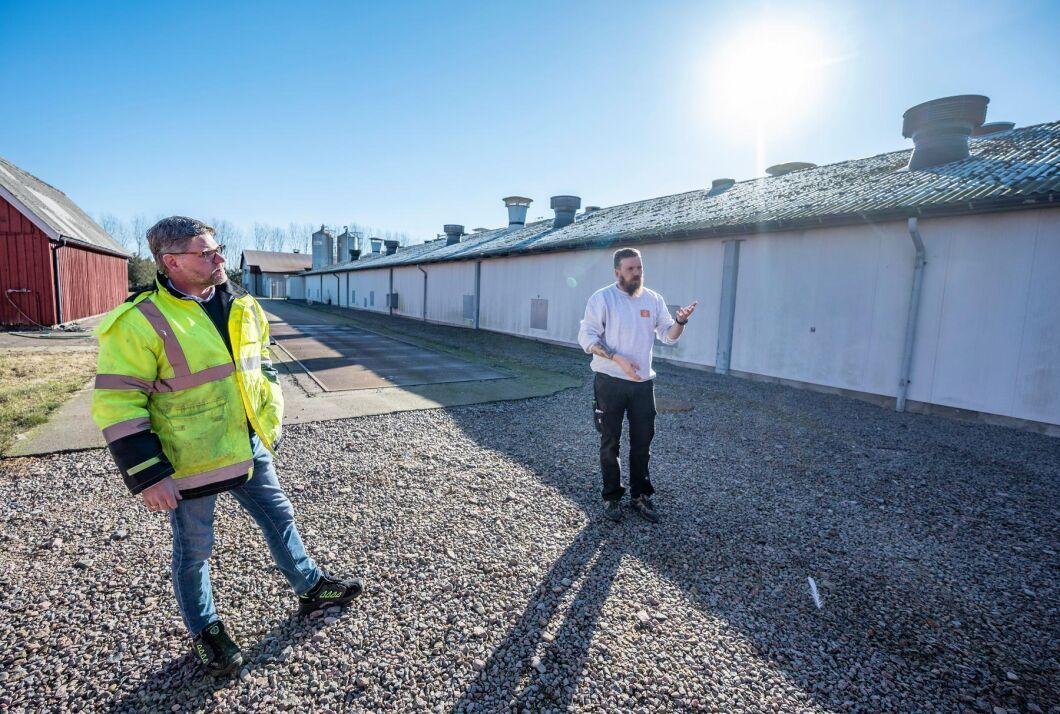 Anders Lindberg, vd, och Joakim Herzberg, förman, utanför Skåneäggs anläggning i Mörarp. Efter ett utbrott av fågelinfluensa på anläggningen 2016 har man vidtagit flera åtgärder för att undvika att få in smitta.