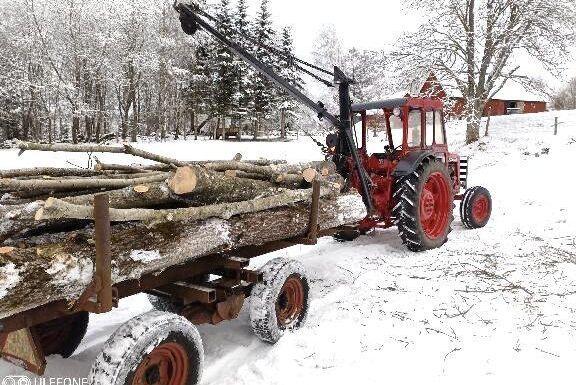 En Buster veterantraktor och vajerkran är aldrig fel att ha på gården.