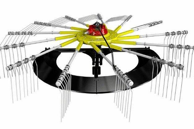 Pöttingers strängläggare kan numera beställas med snöskos-funktion i stället för hjul.