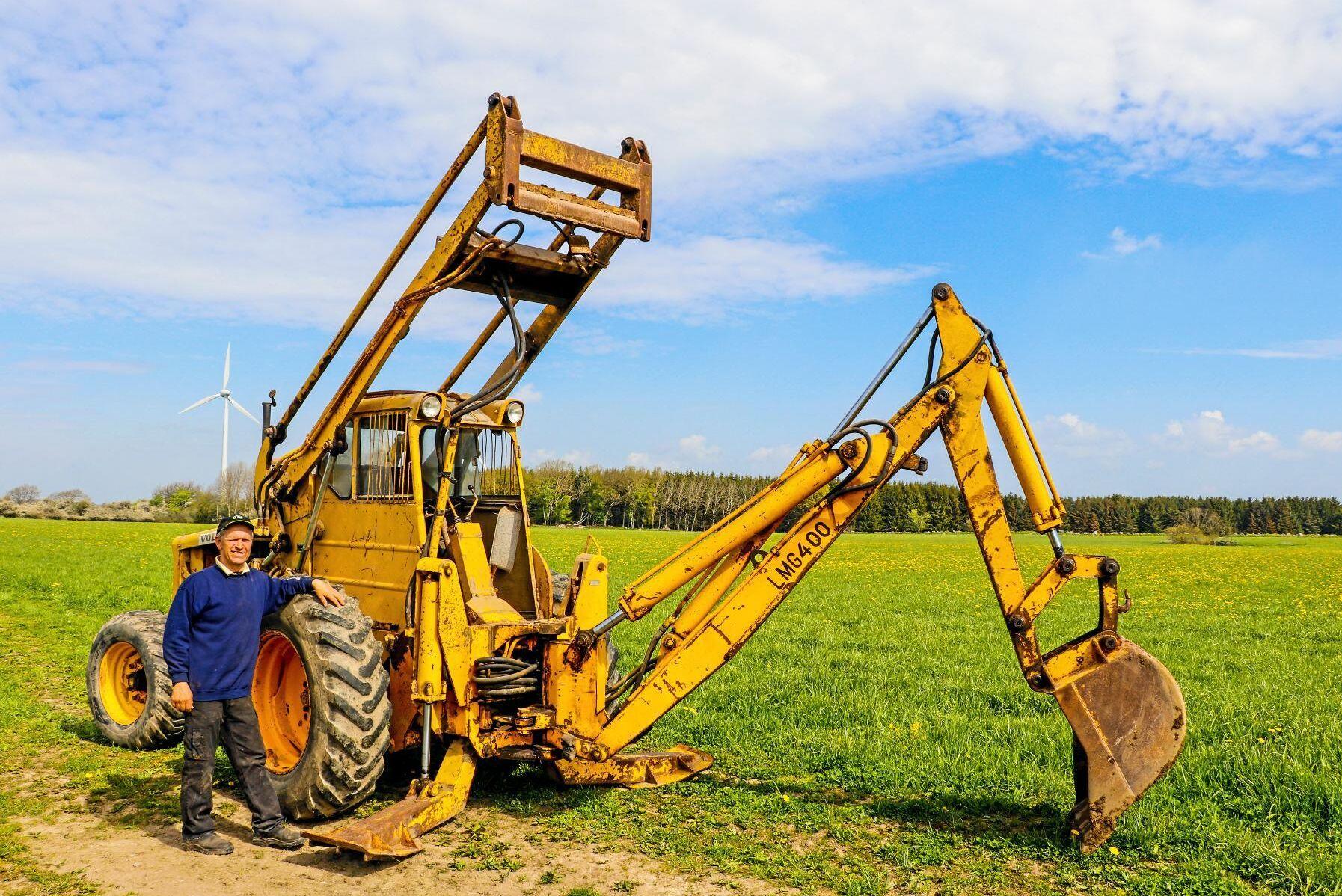 Ingemar använder kassettgrävaren med jämna mellanrum till mindre grävjobb på gården.