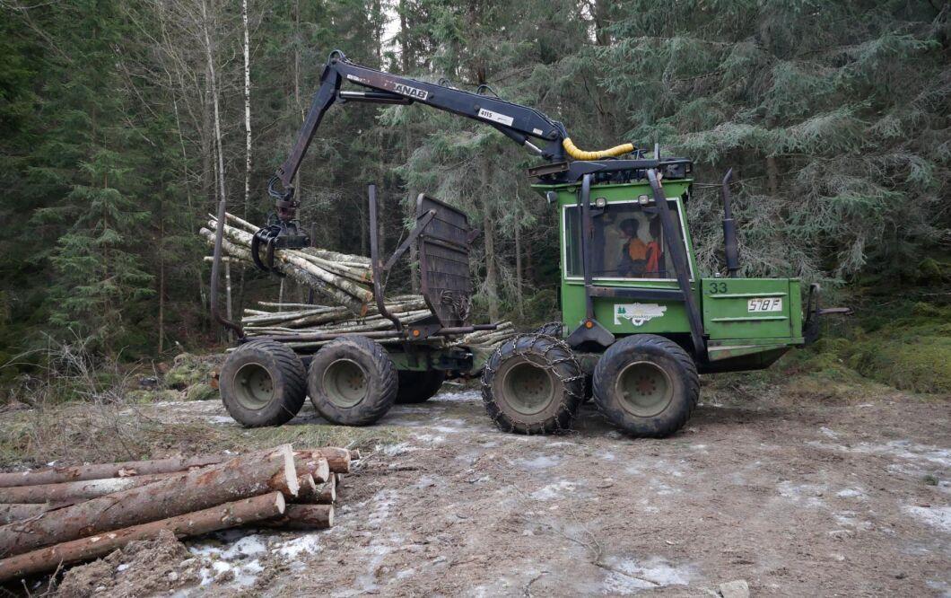 Oxen fanns redan på gården när Per-Oskar kollade på YouTube och såg minilunnaren tillsammans med en vagn med hydraulkran. Då började han leta efter en likadan lösning och hittade snart en vagn.
