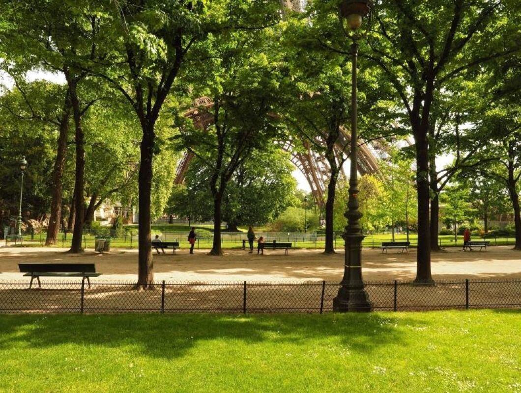 Från årsskiftet får inte längre bekämpningsmedel användas i franska parker som här i Cham-de-Mars i Paris.