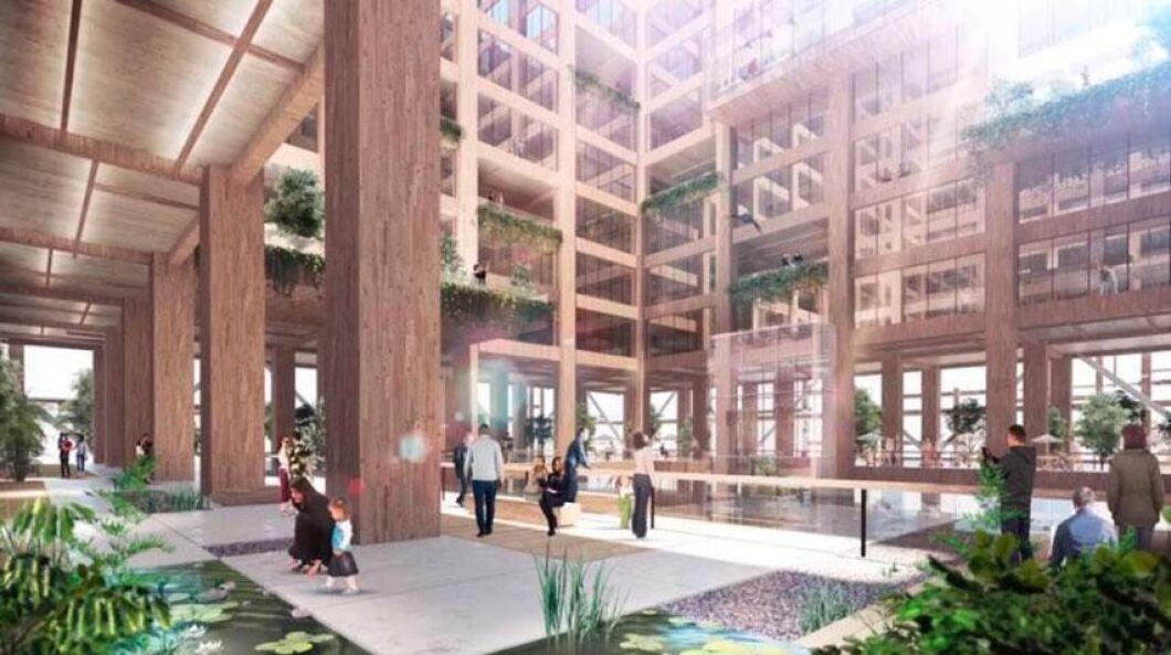 Skyskrapan byggs med en kombination av trä och stål. 90 procent av byggmaterialet ska vara trä.