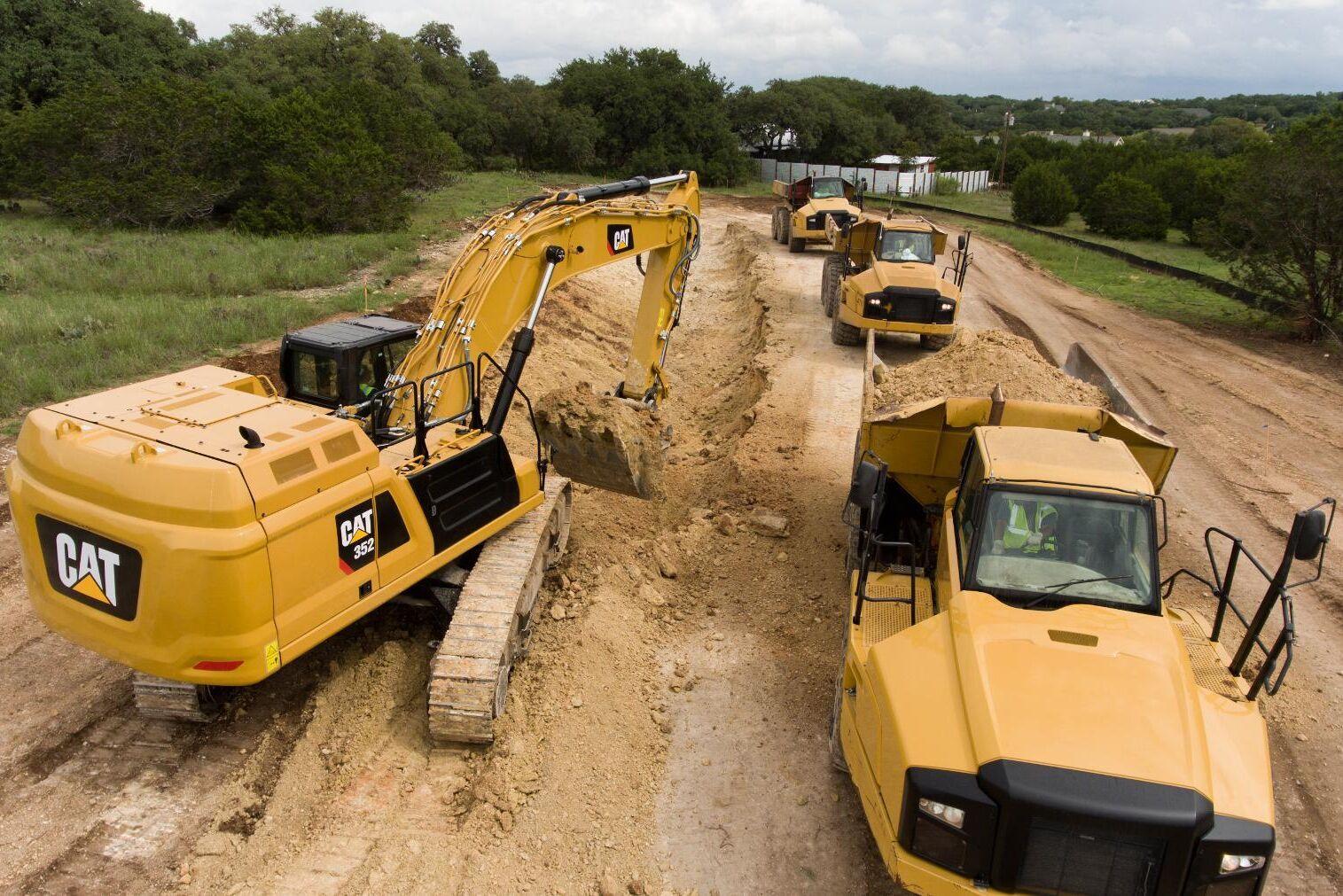 Cat 352 har en arbetsvikt på 50 ton.