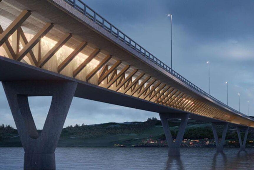 Så här kommer motorvägsbron i norska Mjøsa att se ut när den är klar. Omkring 60 procent kommer att vara av trä.