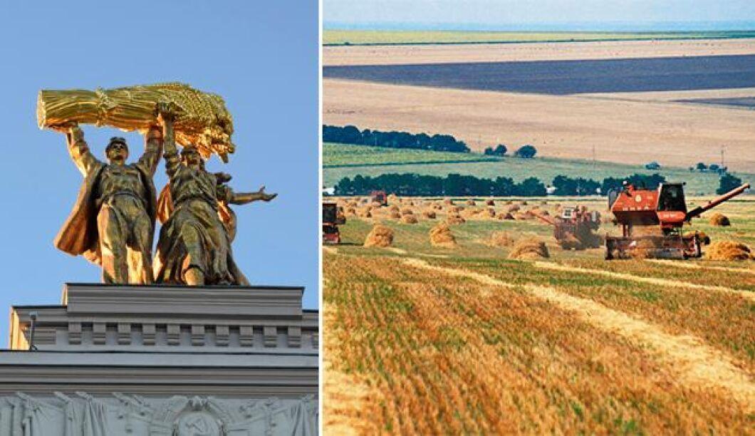 De gamla sovjetiska hyllningarna av bönderna har putsats upp igen.