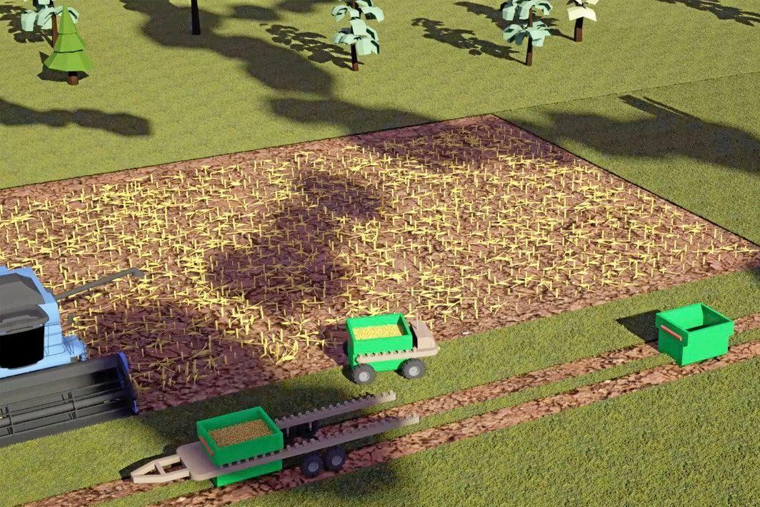 Efter lastningen av spannmålscontainern kör roboten ut till skördetröskan och lastar upp spannmål. Därefter ställer den av containern på en fältvagn och plockar upp en ny container innan den kör ut till skördetröskan igen.
