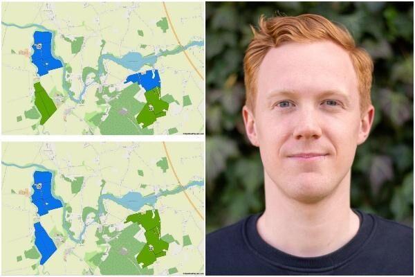 Exemplet visar hur det skulle kunna se ut före och efter ett byte. Verktyget utgår från offentlig data om markägare, gårdscentrum och avstånd där emellan. Till höger: Erik Rönnqvist.