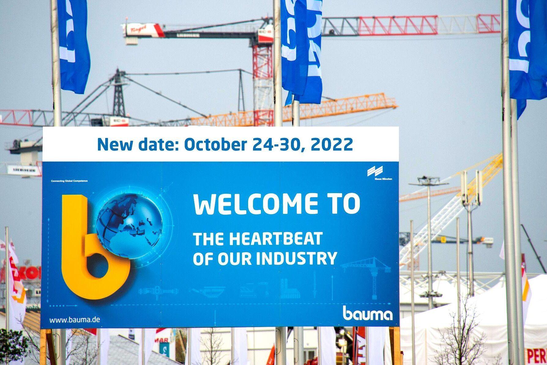 Ingen Bauma i år, i stället välkomnas besökare och utställare i oktober 2022.
