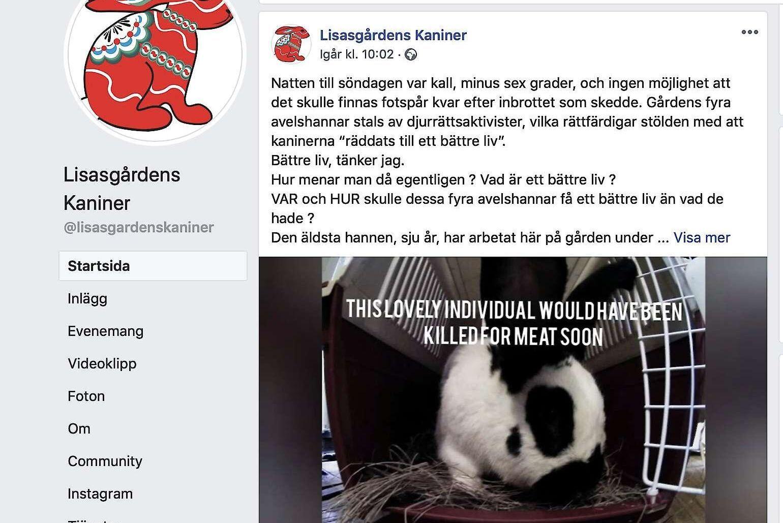 Malin Sundmarks inlägg på gårdens facebooksida har delats och kommenterats många gånger. Den visar också den film som djurrättsaktivisterna lagt ut på youtube.