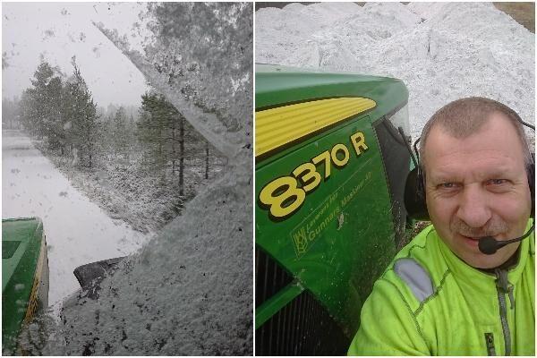 Erik Bäckström beskrev ett riktigt ruskigt snöväder på måndagsförmiddagen. Det är dock inte snö som syns i bakgrunden på bilden till höger.