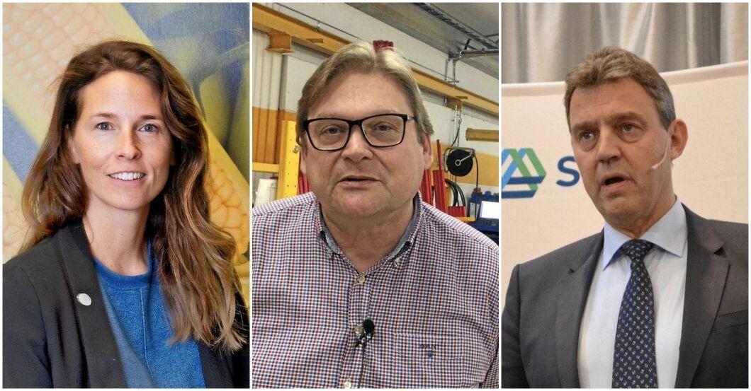 Sydgrönts vd Sara Berger, Väderstads vd Mats Båverud och SCA:s Ulf Larsson.
