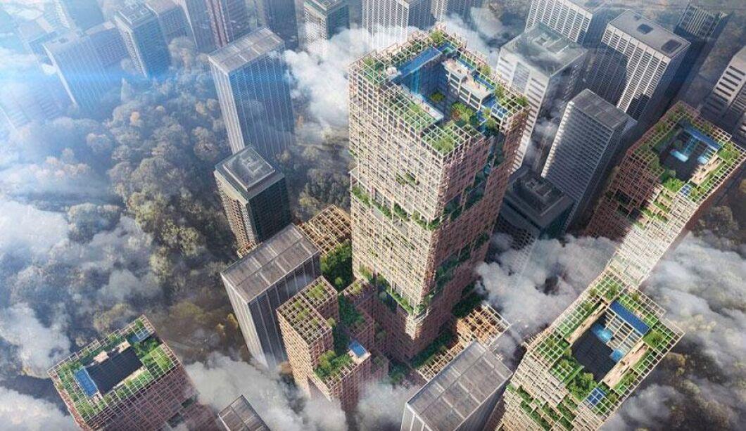Omkring 180 000 kubikmeter virke kommer att gå åt för att bygga skyskrapan.