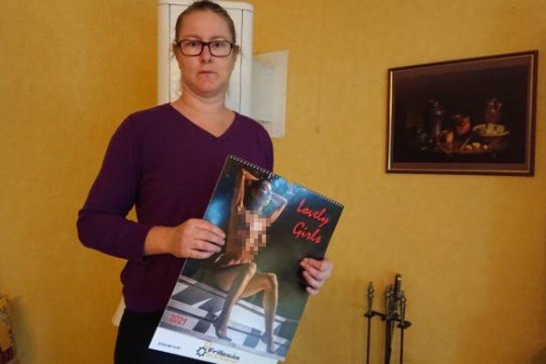 Helen Johansson med den ovälkomna presenten. Bilden är retuscherad.