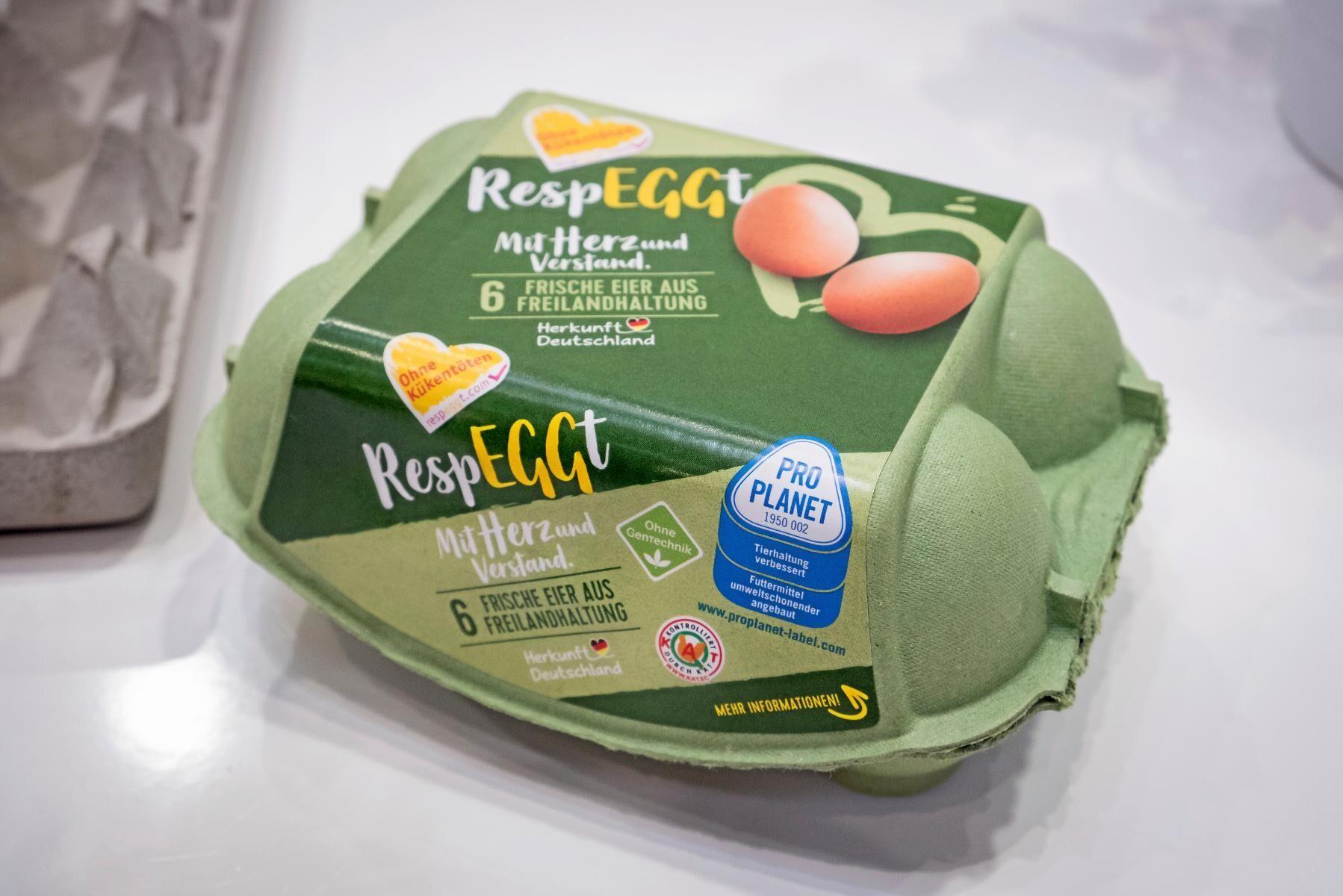"""I Tyskland säljs ägg märkta """"Utan kycklingdödande"""" under varumärket Respeggt."""