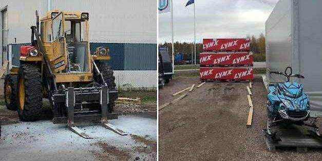 I Mora ska tjuvarna ha använt hjullastarna för att lasta de nya skotrarna för att sedan forsla i väg dem på lastbil.