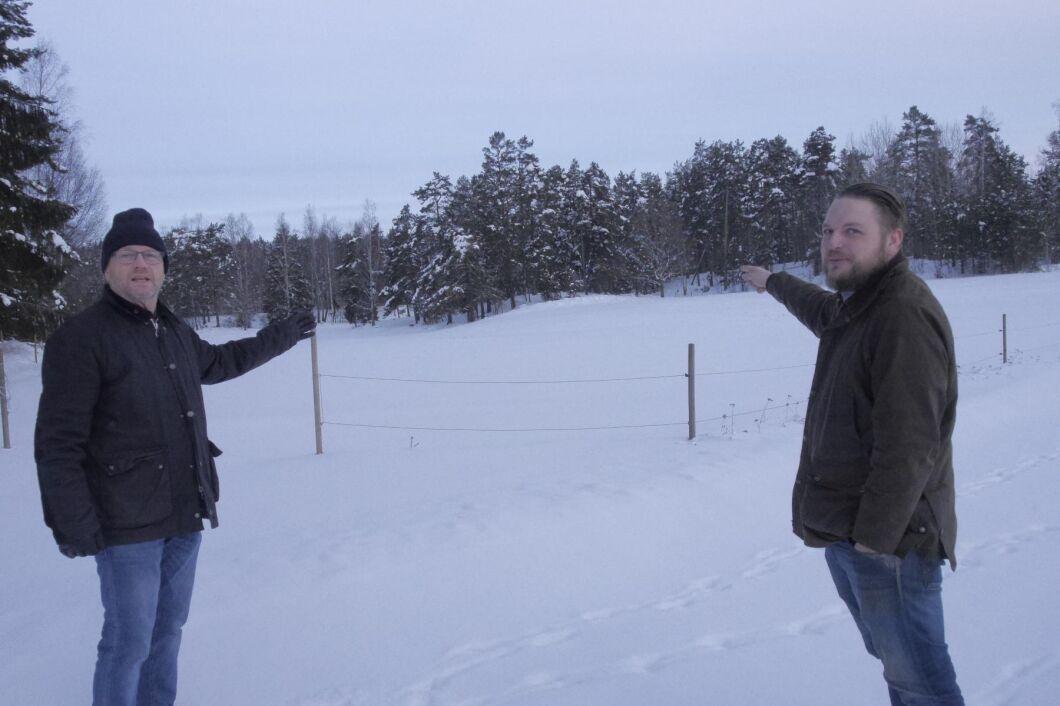 Lantbrukaren Anders Eriksson driver jord- och skogsbruk tillsammans med sin son Gustav Wennerberg Eriksson. Här visar de var kraftledningen är tänkt att placeras.