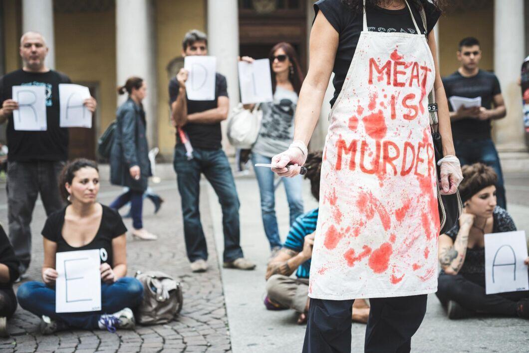 Organisationen 269 Life vid en manifestation i Milano, Italien.