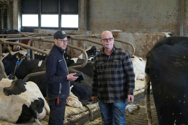 Mjölkbonden Per Nilsson och rådgivaren Yngve Tjörnbo.