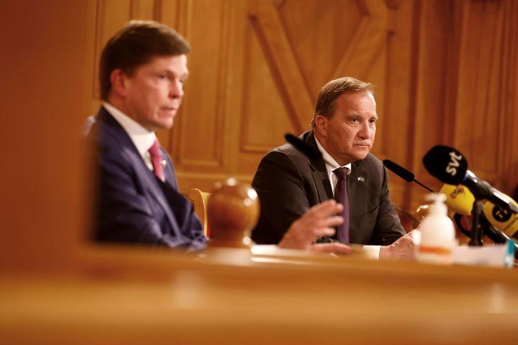 Riksdagens talman Andreas Norlén under måndagens pressträff med Stefan Löfven (S).