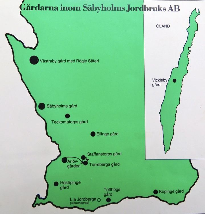 Karta över gårdarna inom Säbyholms Jordbruks AB