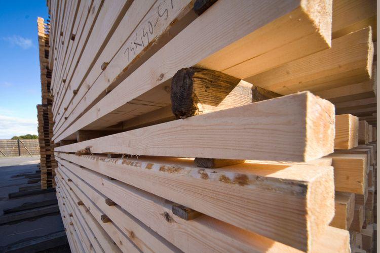 Virke står lassat på ett sågverk.