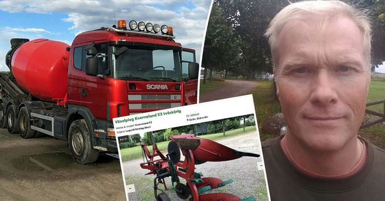 Bildkollage på cementbil, Johan Andersson och en annons på en plog på sajten Klaravik.