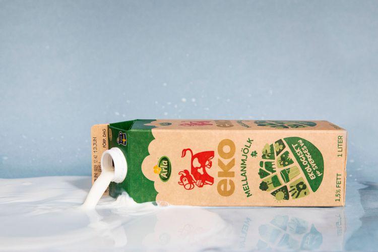 Ekologisk mjölk i förpackning