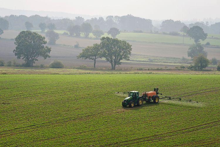Traktor besprutar fält i morgondis