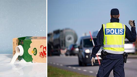 Montagebild på mjölkkartong som spillt mjölk, och en väg där polisen ger tecken åt trafikanter.